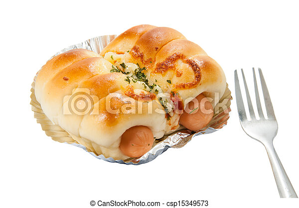 Bread with Sausage on white background - csp15349573