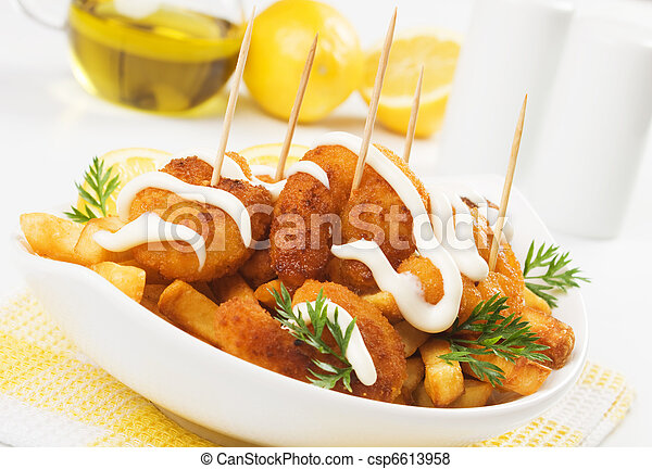Breaded shrimp snack with french fries - csp6613958