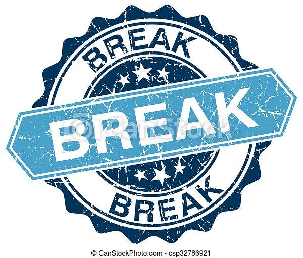 break blue round grunge stamp on white - csp32786921