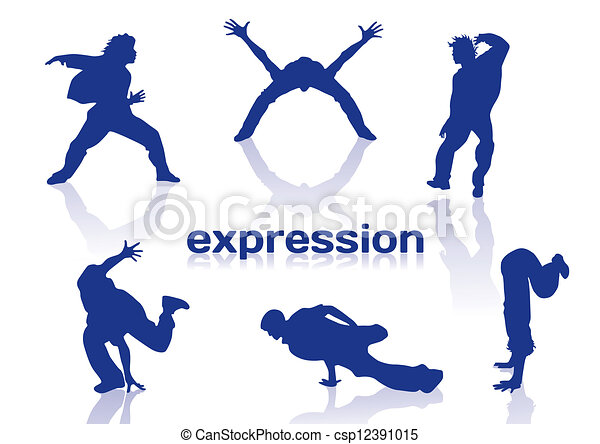 Break dance silhouettes - csp12391015