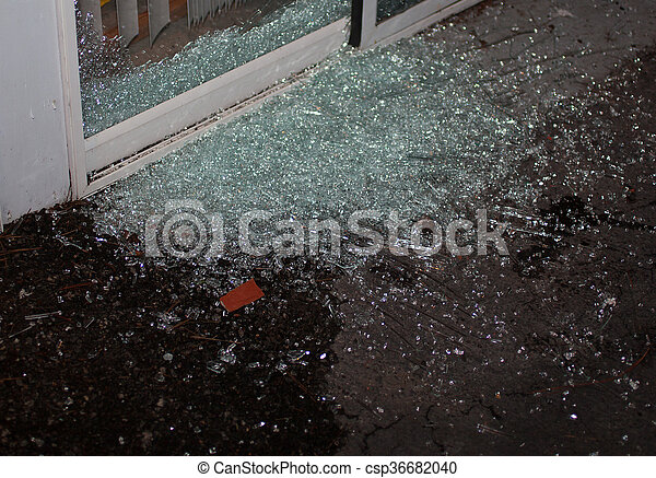 Break In Sliding Glass Door That Has Been Shattered As A Home