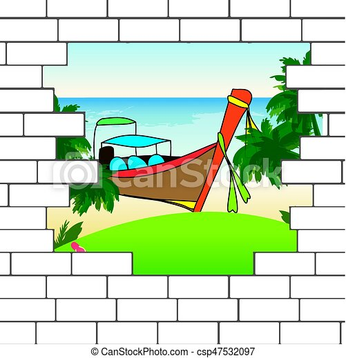break in the brick wall with a beautiful ocean beach and eps rh canstockphoto com