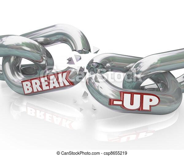 Break-Up Broken Links Chain Separation Divorce - csp8655219