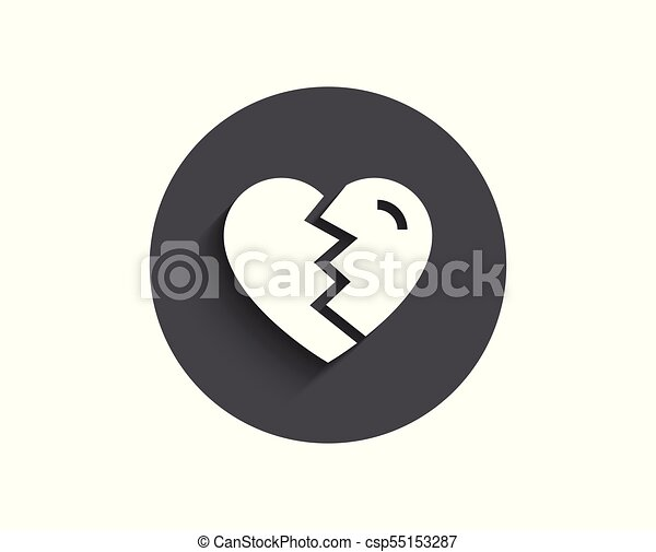 Break Up Love Simple Icon Divorce Sign Valentines Day Symbol