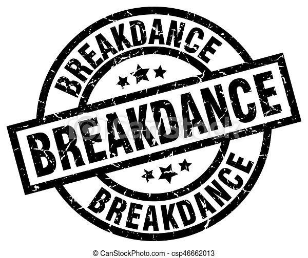breakdance round grunge black stamp - csp46662013