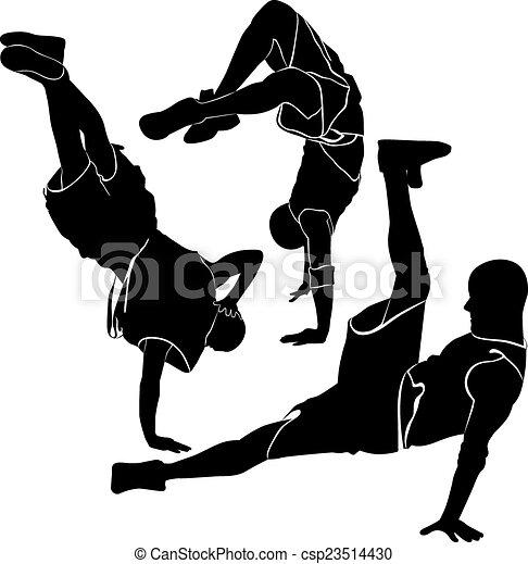 breakdance silhouette break dance - csp23514430