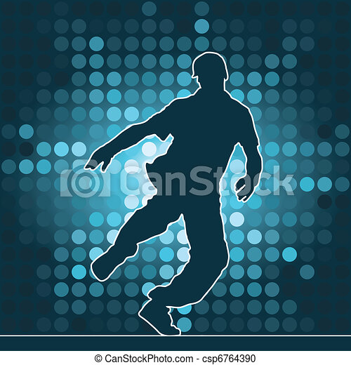 Bailar silueta, bailar breakdance - csp6764390