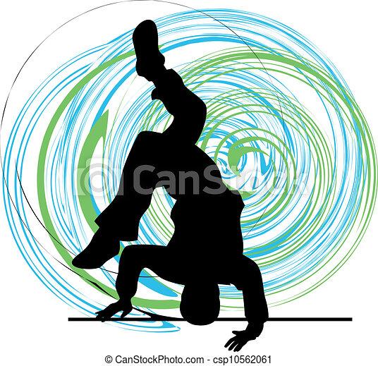breakdancer, stand, dansende, hånd - csp10562061