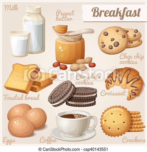 Breakfast 3. Set of cartoon vector food icons - csp40143551