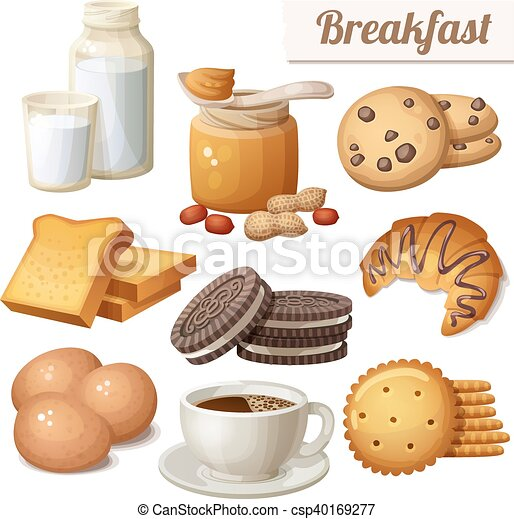 Breakfast 3. Set of cartoon vector food icons isolated on white background - csp40169277