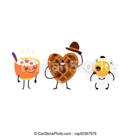 Breakfast characters - oatmeal, waffle, fried egg - csp50367976