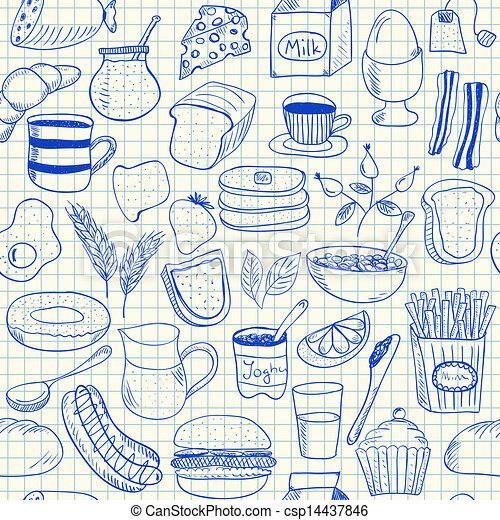 Breakfast doodles seamless pattern - csp14437846