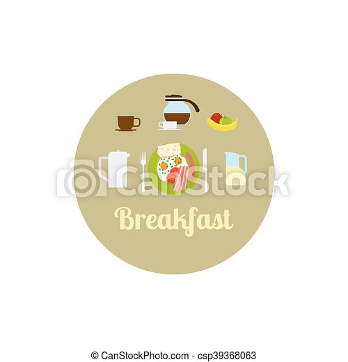 Breakfast food isolated icon set - csp39368063