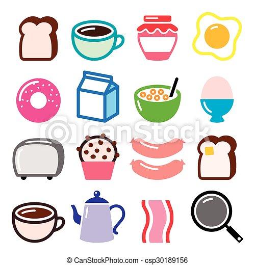Breakfast food vector icons set - csp30189156