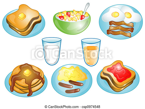 Breakfast foods icons or symbols - csp0974548