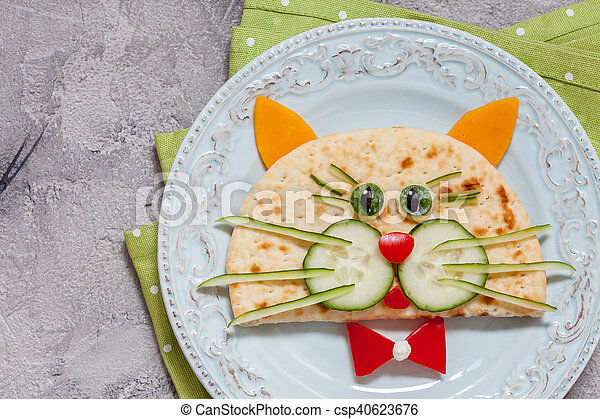 breakfast for kids with cat quesadilla - csp40623676