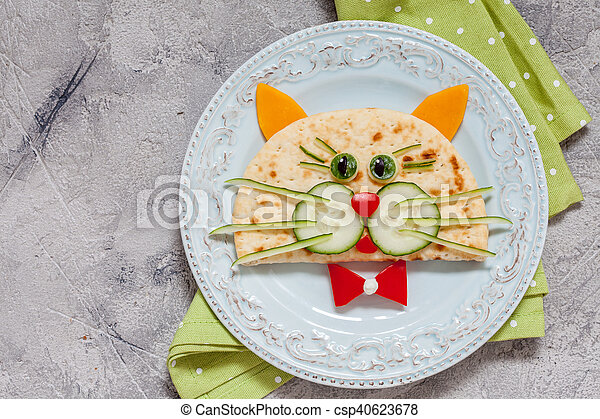breakfast for kids with cat quesadilla - csp40623678