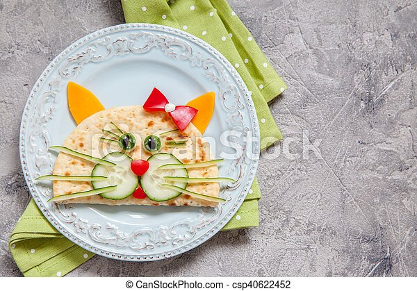 breakfast for kids with cat quesadilla - csp40622452