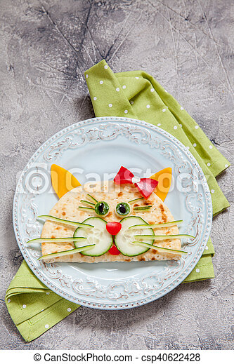 breakfast for kids with cat quesadilla - csp40622428
