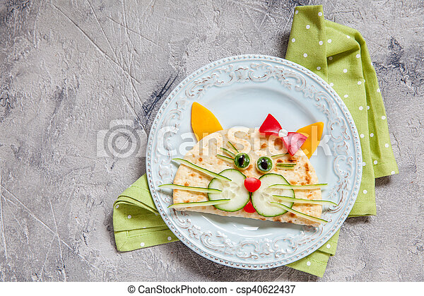 breakfast for kids with cat quesadilla - csp40622437