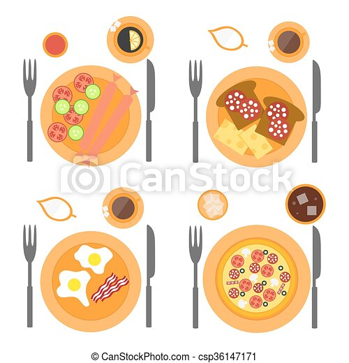 Breakfast icons flat set with four options of food - sausages, omelette, pizza and toasts. - csp36147171