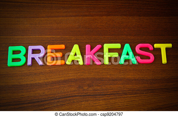 Breakfast in colorful toy letters - csp9204797