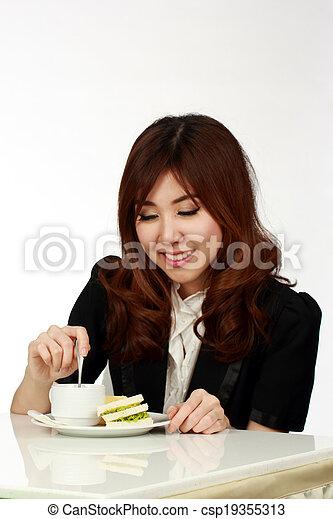 Breakfast in office - csp19355313