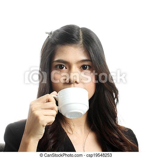 Breakfast in office woman - csp19548253