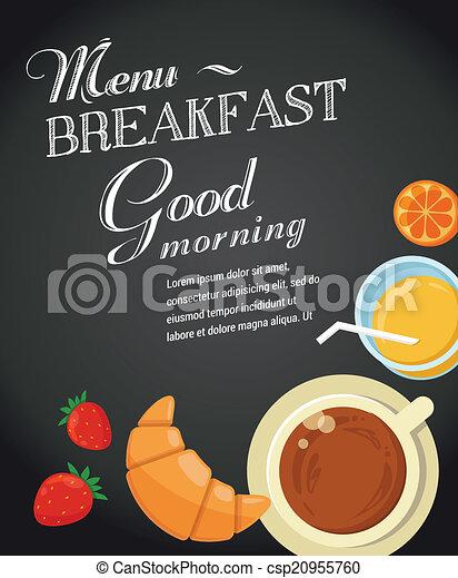 Breakfast menu drawing with chalk on blackboard - csp20955760