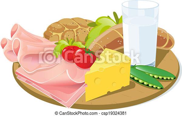 breakfast on wooden plank - csp19324381
