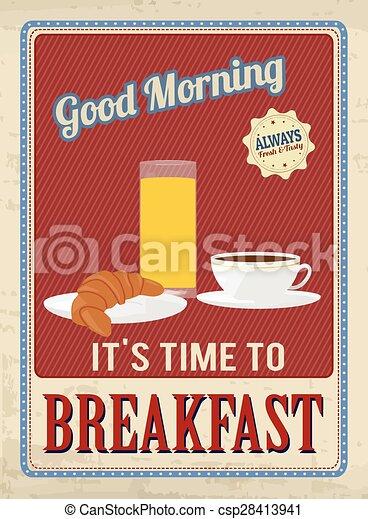 Breakfast Vintage Poster Breakfast Retro Poster In Vintage Style