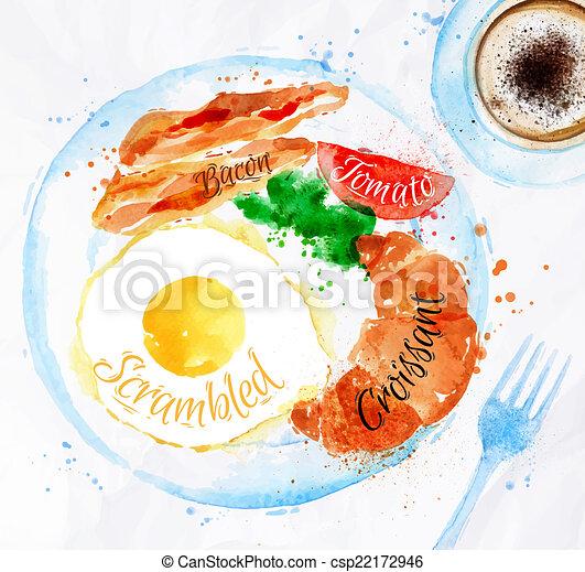 Breakfast watercolors bacon eggs - csp22172946