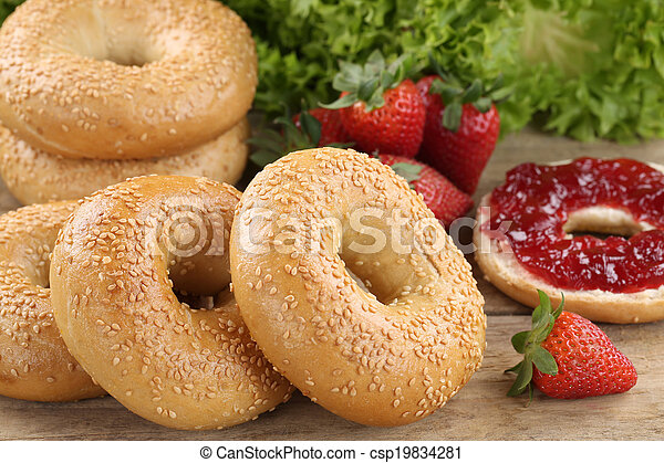 Breakfast with bagels and marmalade - csp19834281