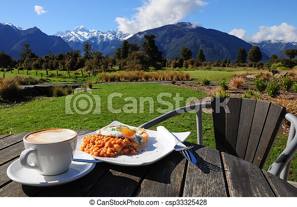 Breakfast with beautiful view of mountain - csp33325428