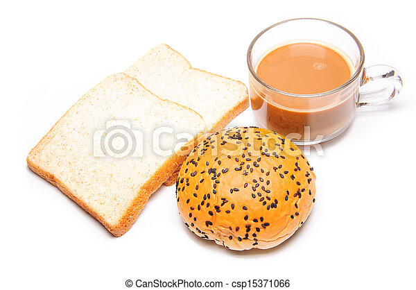breakfast with bread and coffee - csp15371066