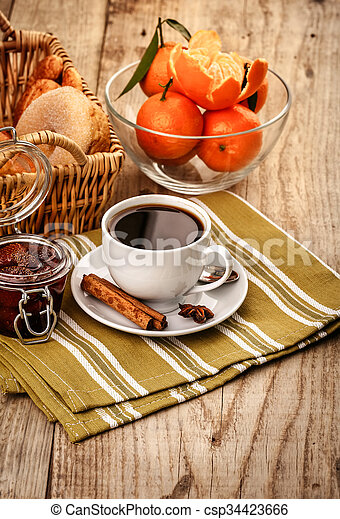 Breakfast With Coffee And Fruits For Good Morning Tangerines And