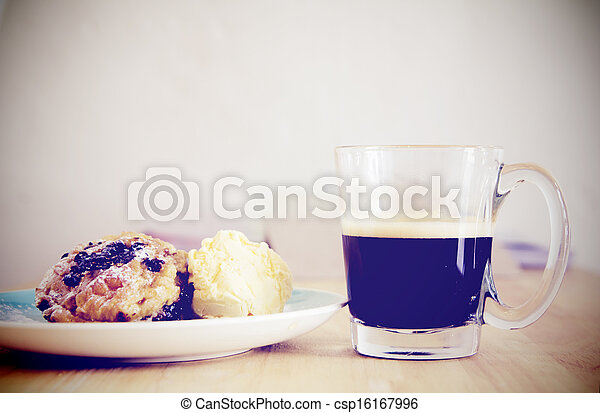 Breakfast with cup of black coffee - csp16167996