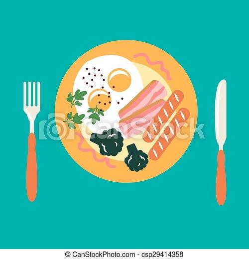 Breakfast with eggs, sausage, bacon, broccoli - csp29414358