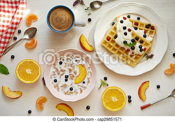 breakfast with fruits - csp29851571