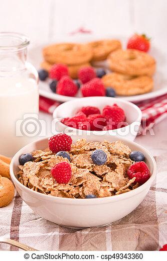 Breakfast with wholegrain cereals. - csp49343360