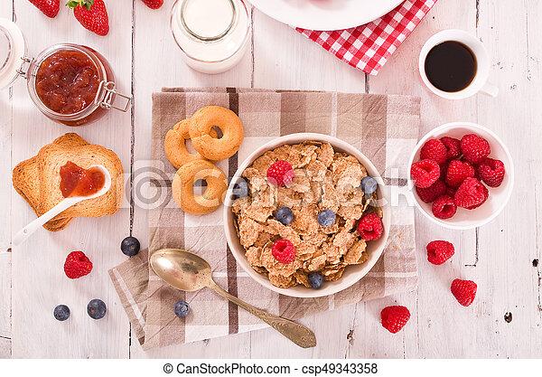Breakfast with wholegrain cereals. - csp49343358