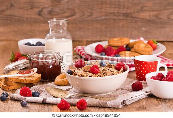 Breakfast with wholegrain cereals. - csp49344034