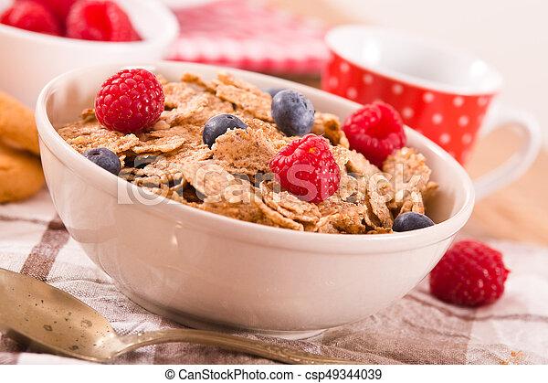 Breakfast with wholegrain cereals. - csp49344039