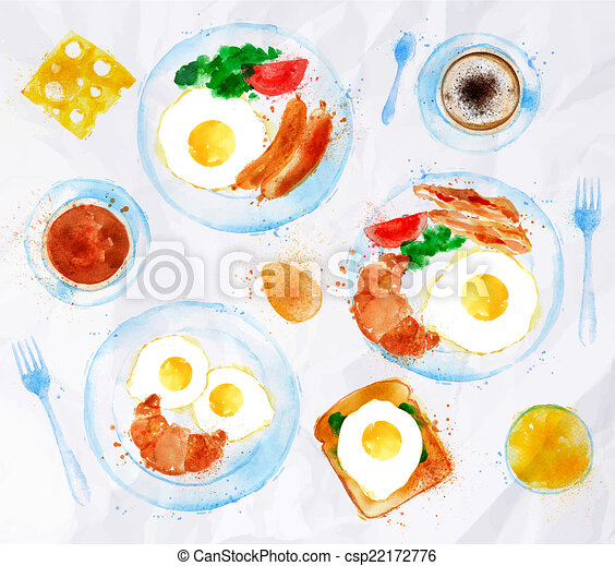 Breakfasts set eggs watercolor - csp22172776