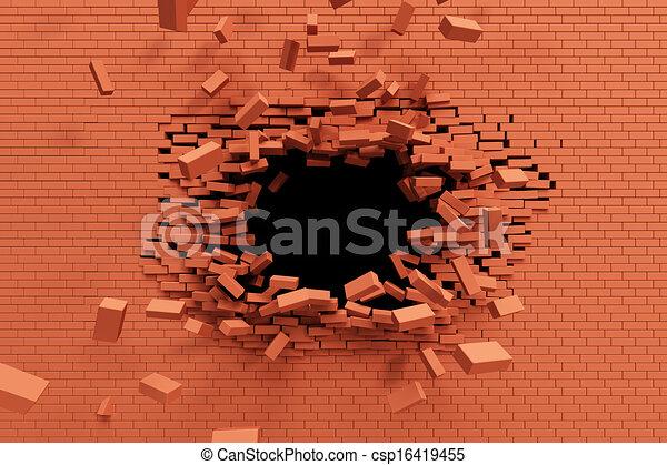 breaking brick wall - csp16419455