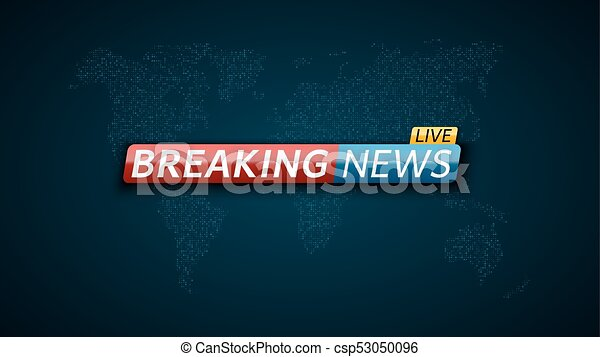 Breaking News Live Abstract Futuristic Background With A Glowing Blue World Map Of The Planet