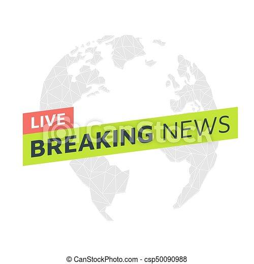 Breaking News Live Globe Low Poly Triangular Material Palette Vector Illustration Light Background Eps10