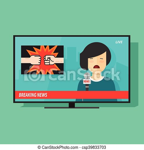 Breaking News On Tv Screen Television Program With Woman Reporter