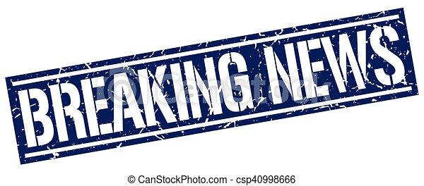 Breaking News Square Grunge Stamp