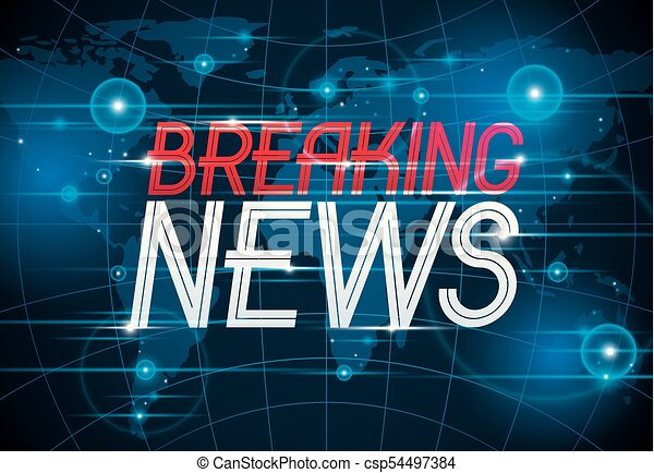Breaking News Vector Background World Tv Or Internet Channel Translation Illustration With Map And Typing Website Blog Live